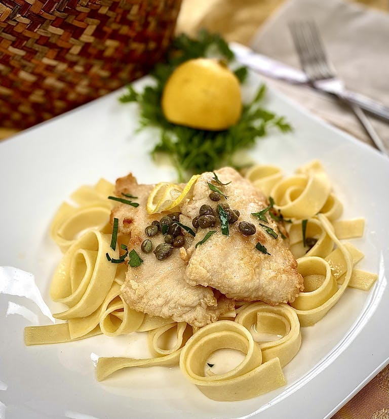 chicken with lemon caper sauce and handcut noodles