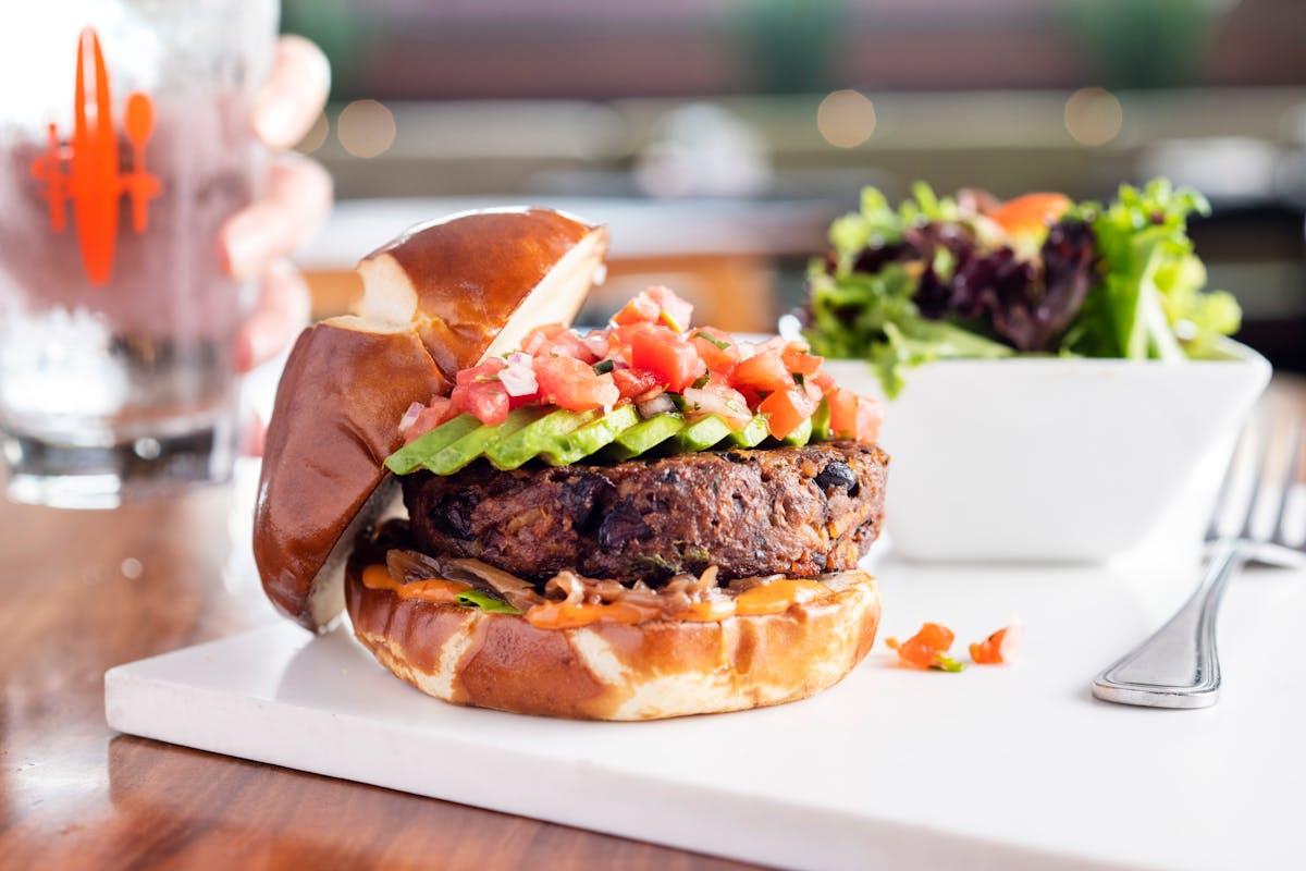 a closeup of a burger