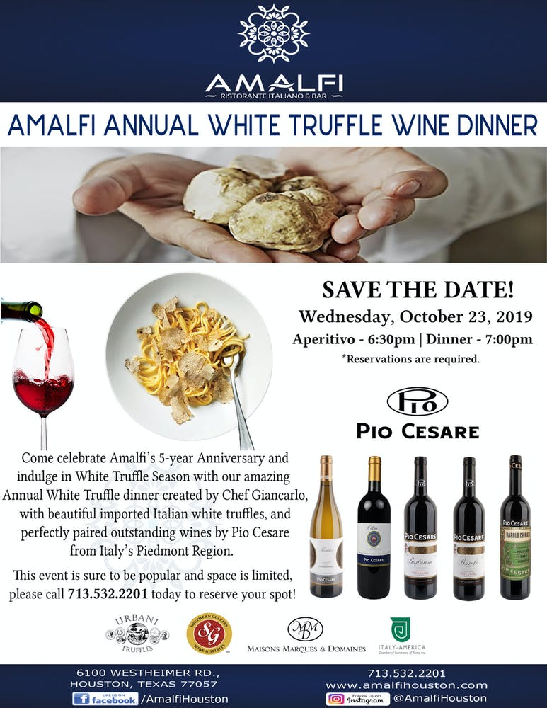 a close up of poster of Amalfi Annual White Truffle Dinner 10/23
