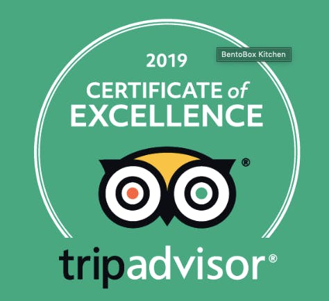 a 2019 certificate of excellence from TripAdvisor