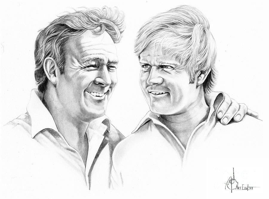 a drawing of Arnold Palmer