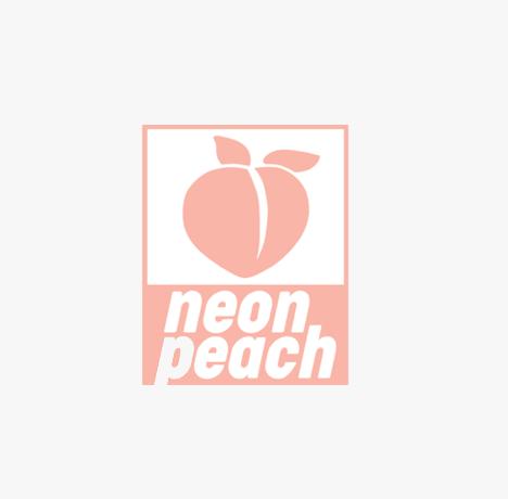 a close up of a logo of a neon peach