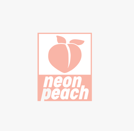 a close up of a logo of a neon peach