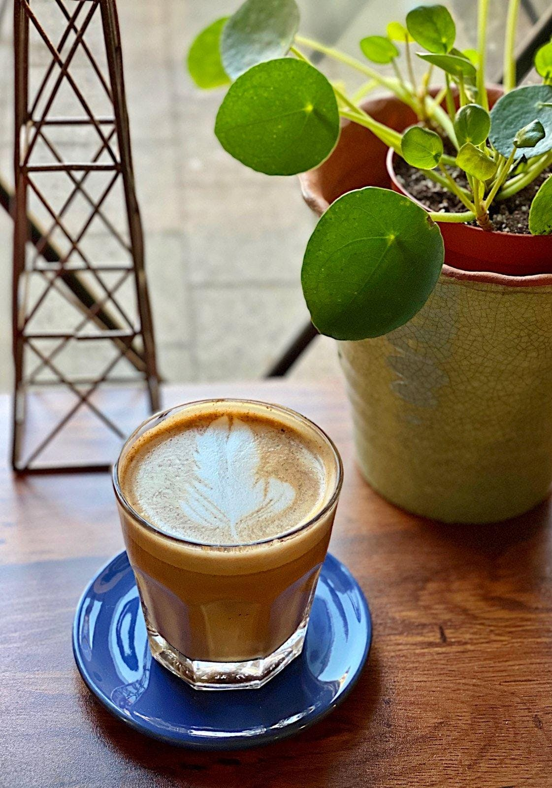 A Cortado sitting on a table next to the window