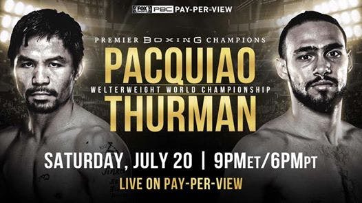 Manny Pacquiao, Keith Thurman are posing for a picture