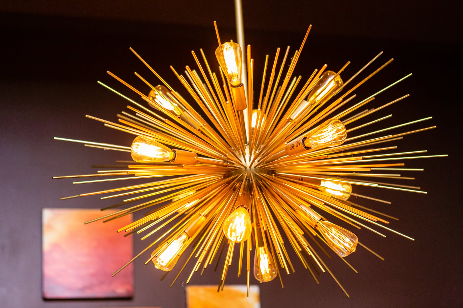 a close up of a firework-looking chandelier