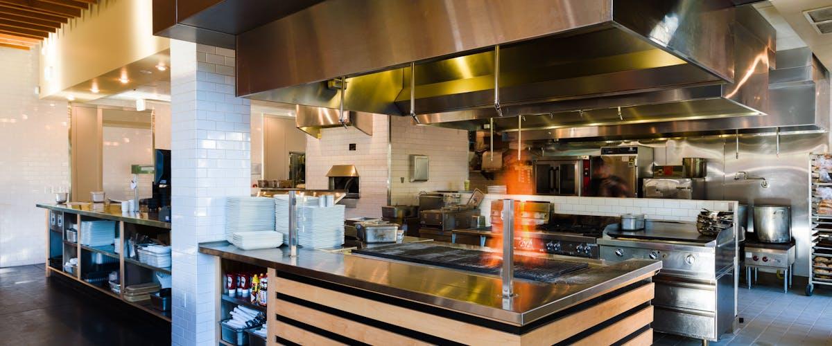 a kitchen area