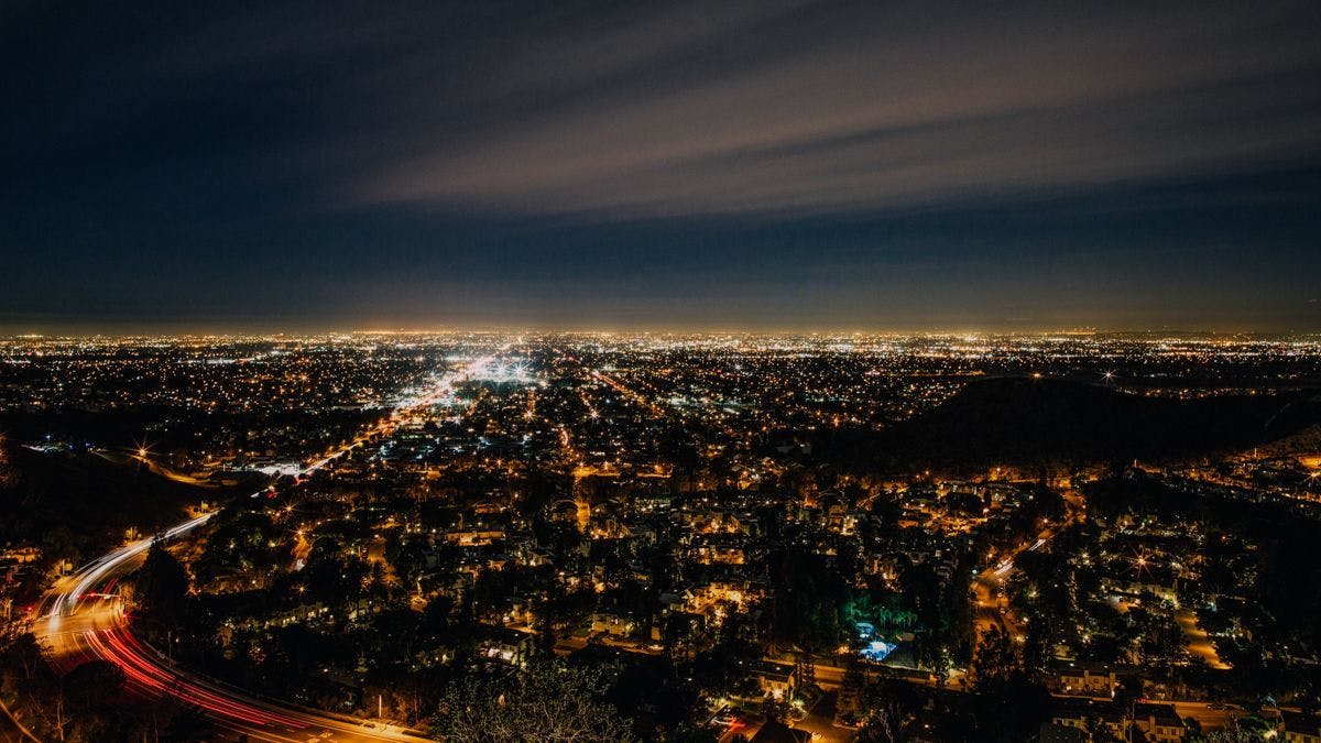 a view of a city at night