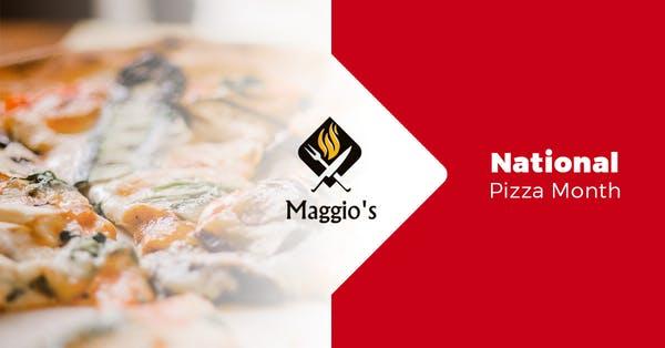 Maggio's logo and a pizza