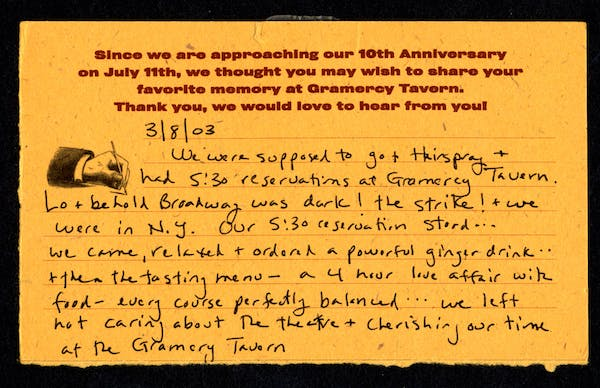 Gramercy Tavern Comment Card | 25th Anniversary