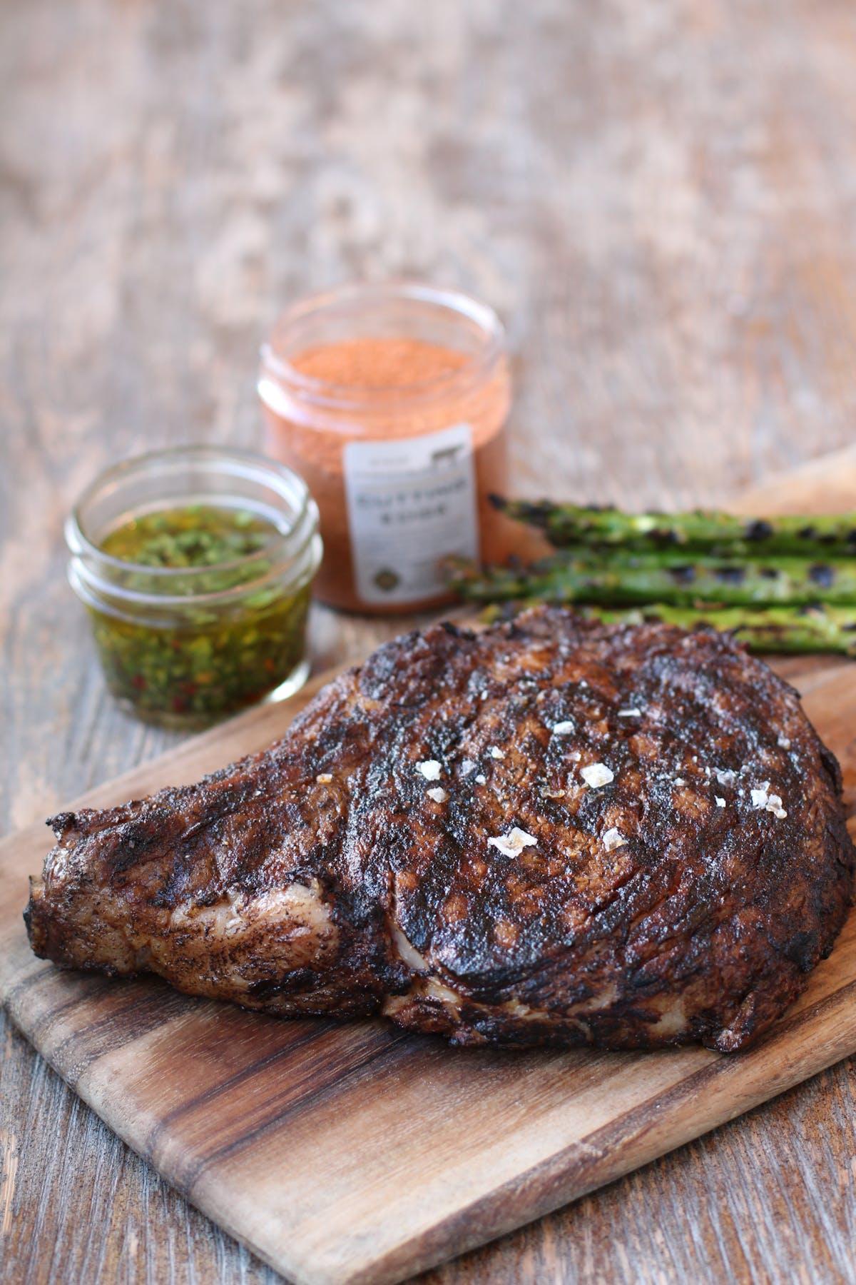 Steak on a wooden cutting board
