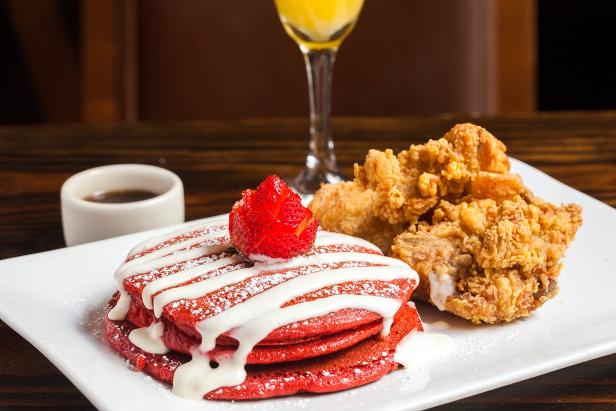 red velvet pancakes and chicken and waffles