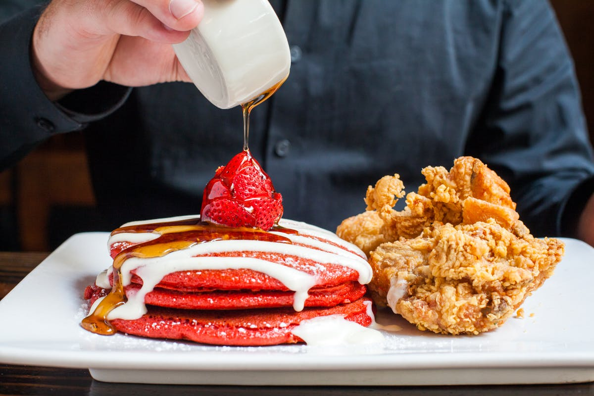 red velvet pancakes with fried chicken