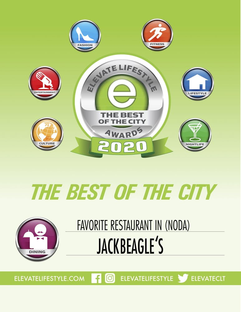 elevate lifestyle award banner to Jackbeagle's for favorite restaurant in noda in 2020