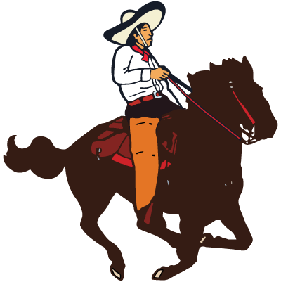 El Camino Real logo of a Mexican Cowboy riding a horse