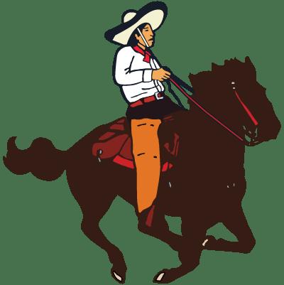 El Camino Real logo of a Mexican Cowboy riding a horse