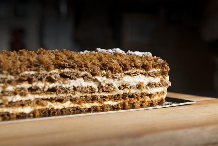 a close up of a rectangular layer cake