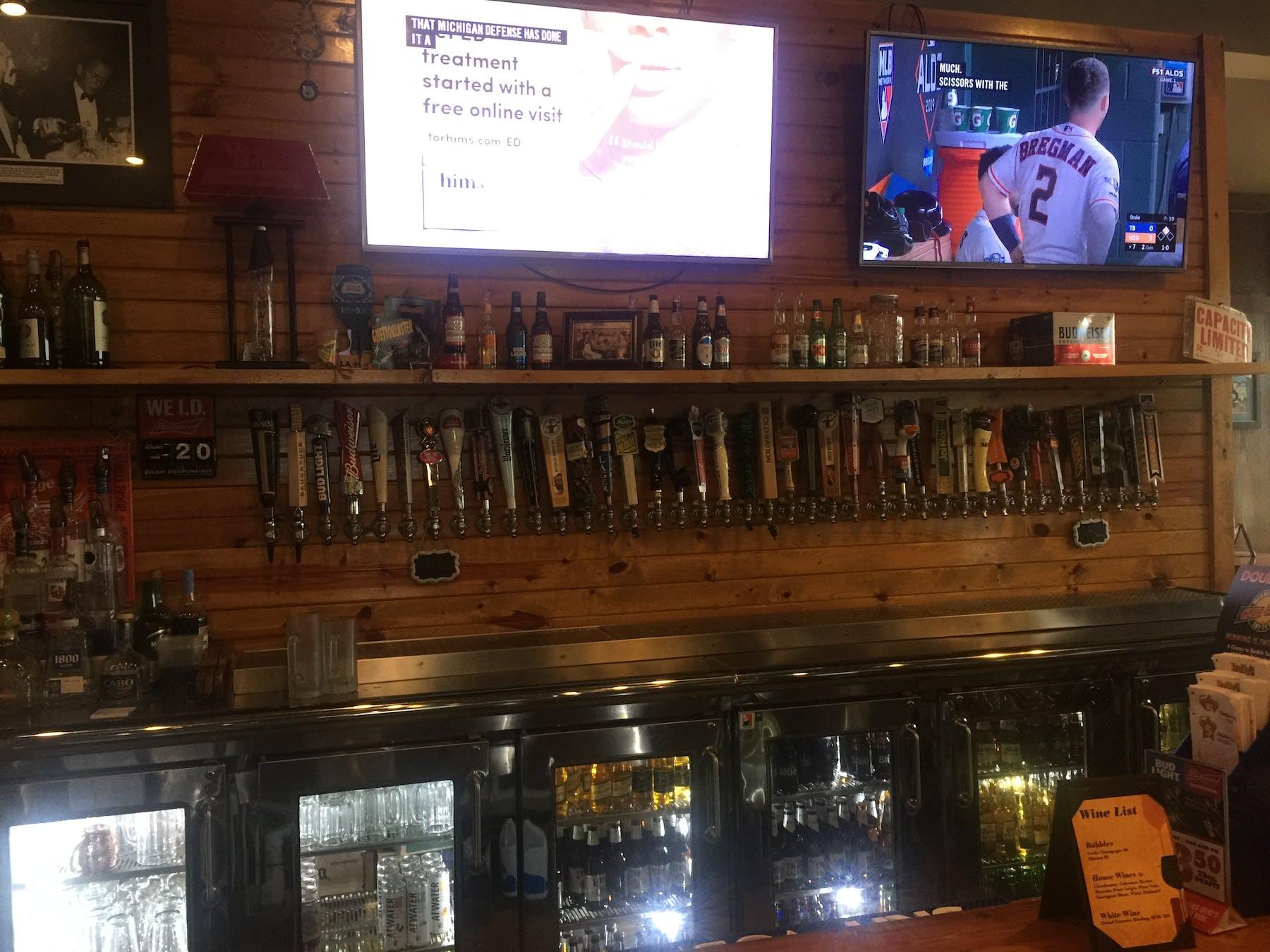a television at the bar