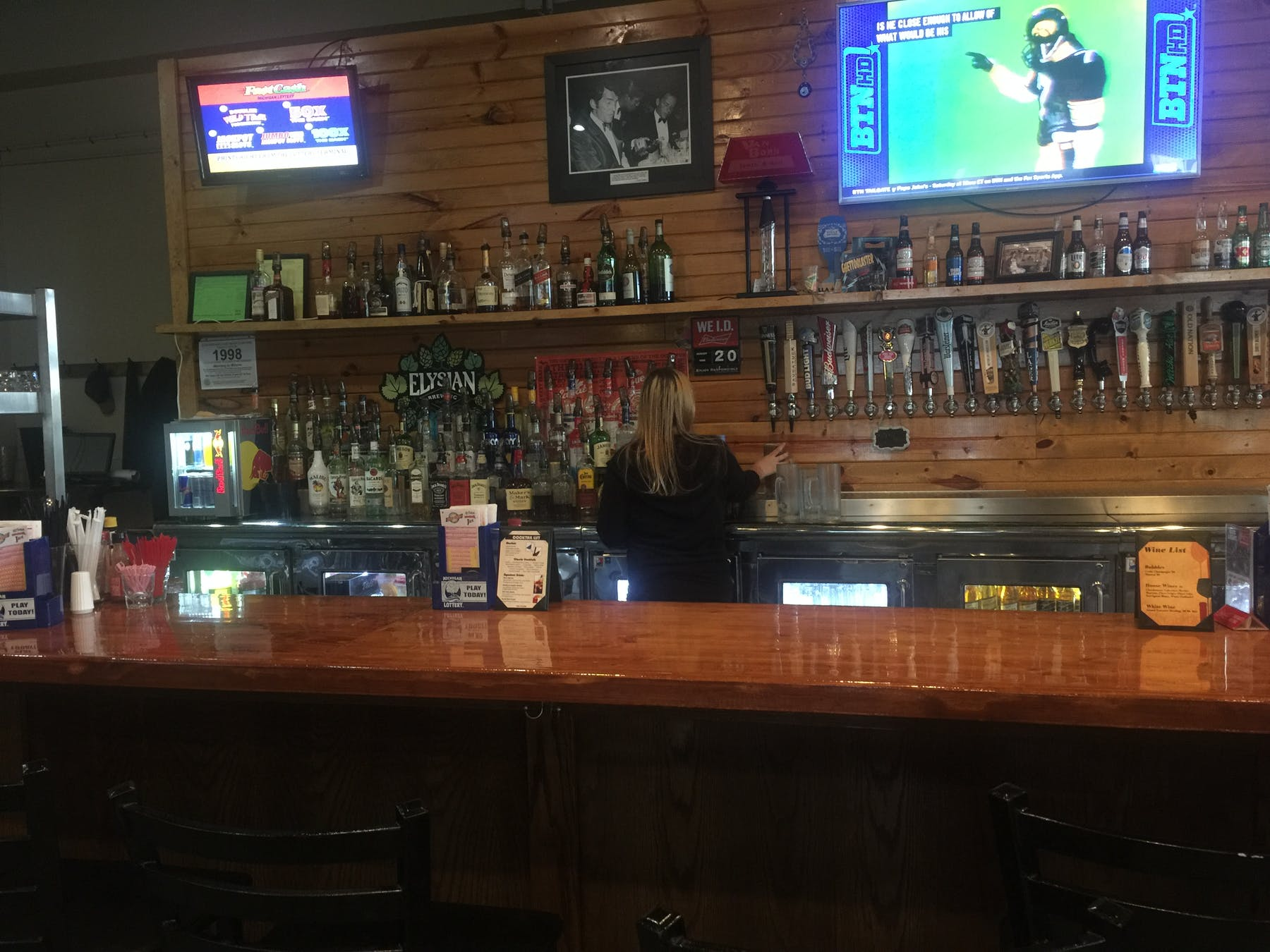 a bar with a bartender