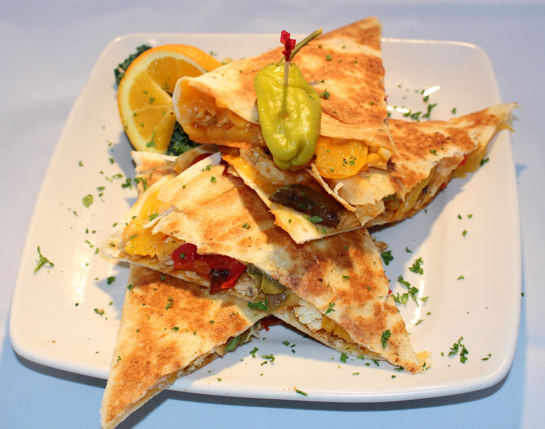 a plate of quesadillas