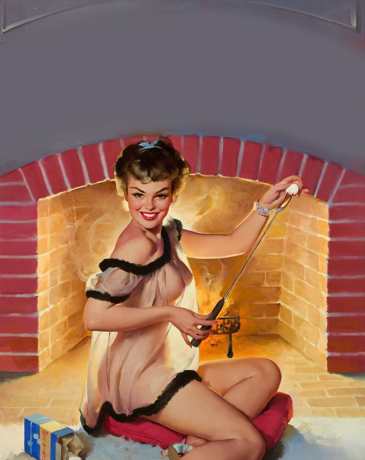 a woman posing in front of a chimney