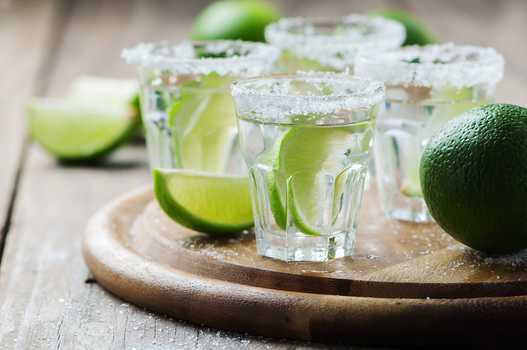 a close up of margaritas drinks