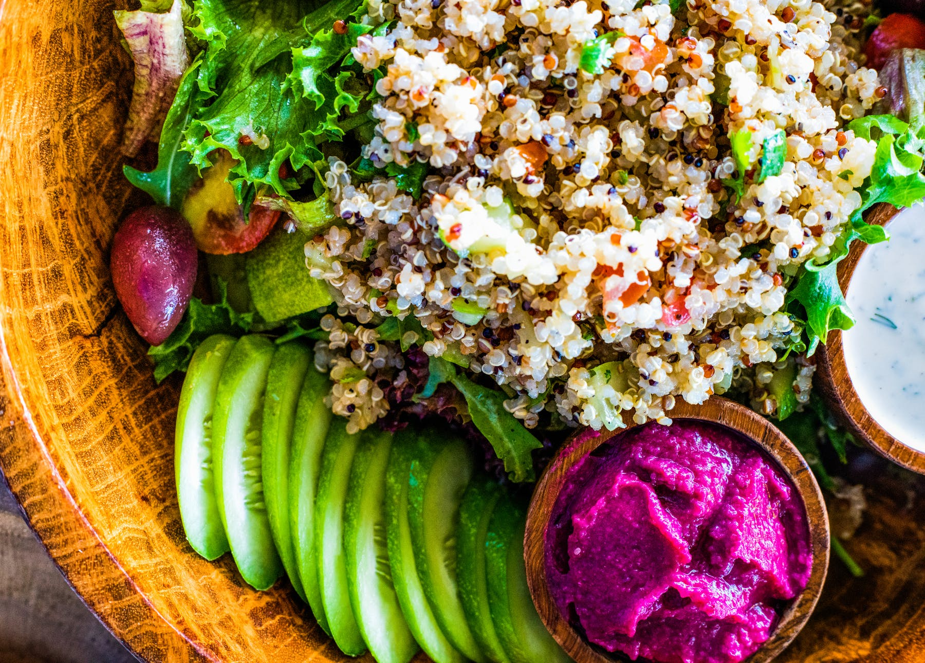 a close up of a salad