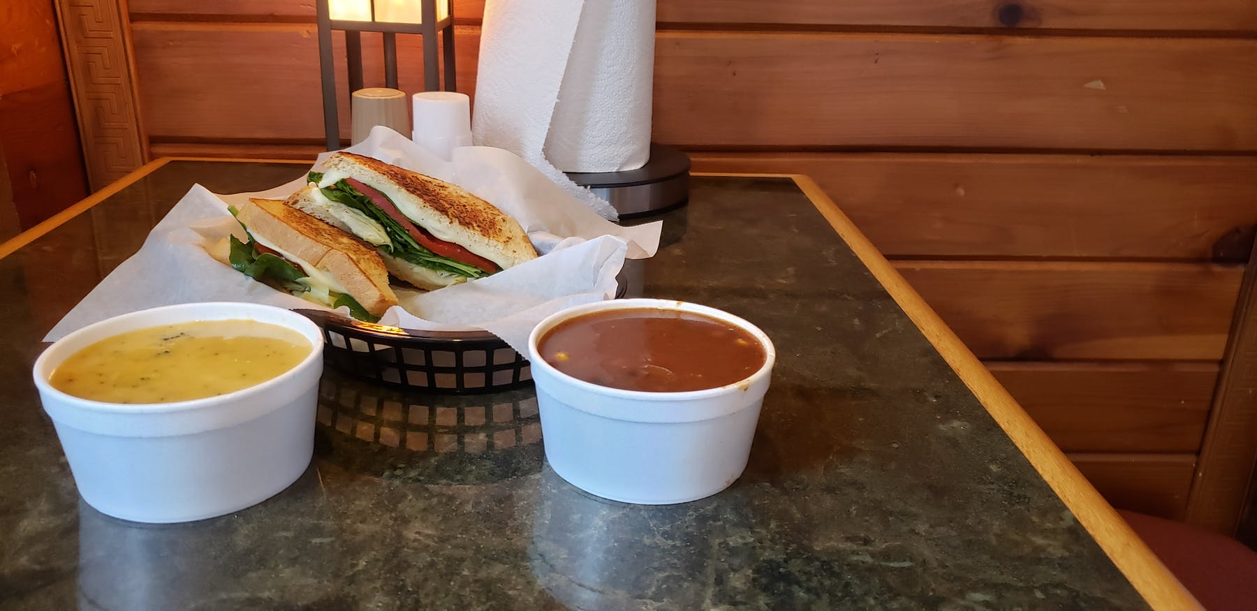 Roasted Red Pepper Grilled Cheese, Broccoli Cheese Soup, Beef & Corn Chili