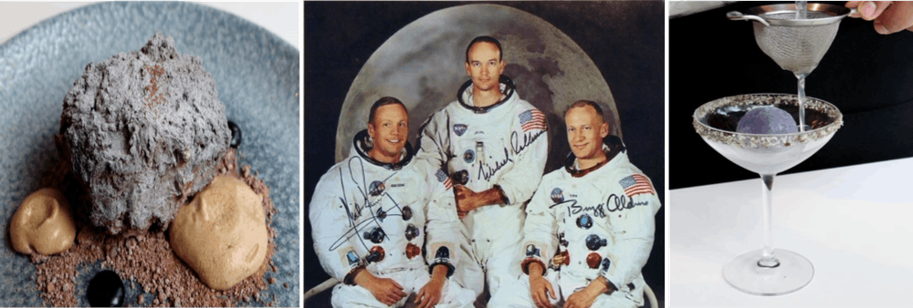 Michael Collins, Buzz Aldrin sitting on a plate