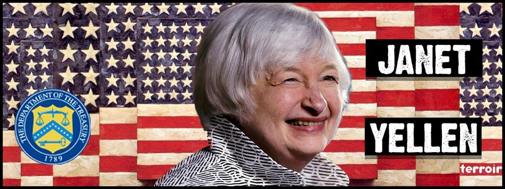 Janet Yellen smiling for the camera