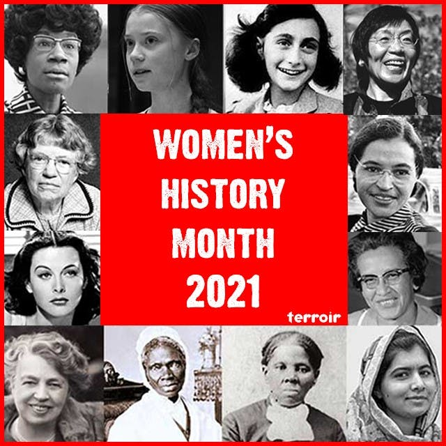 Eleanor Roosevelt, Margaret Mead, Shirley Chisholm, Sojourner Truth, Anne Frank, Harriet Tubman, Rosa Parks, Katherine Johnson, Junko Tabei, Ziauddin Yousafzai are posing for a picture