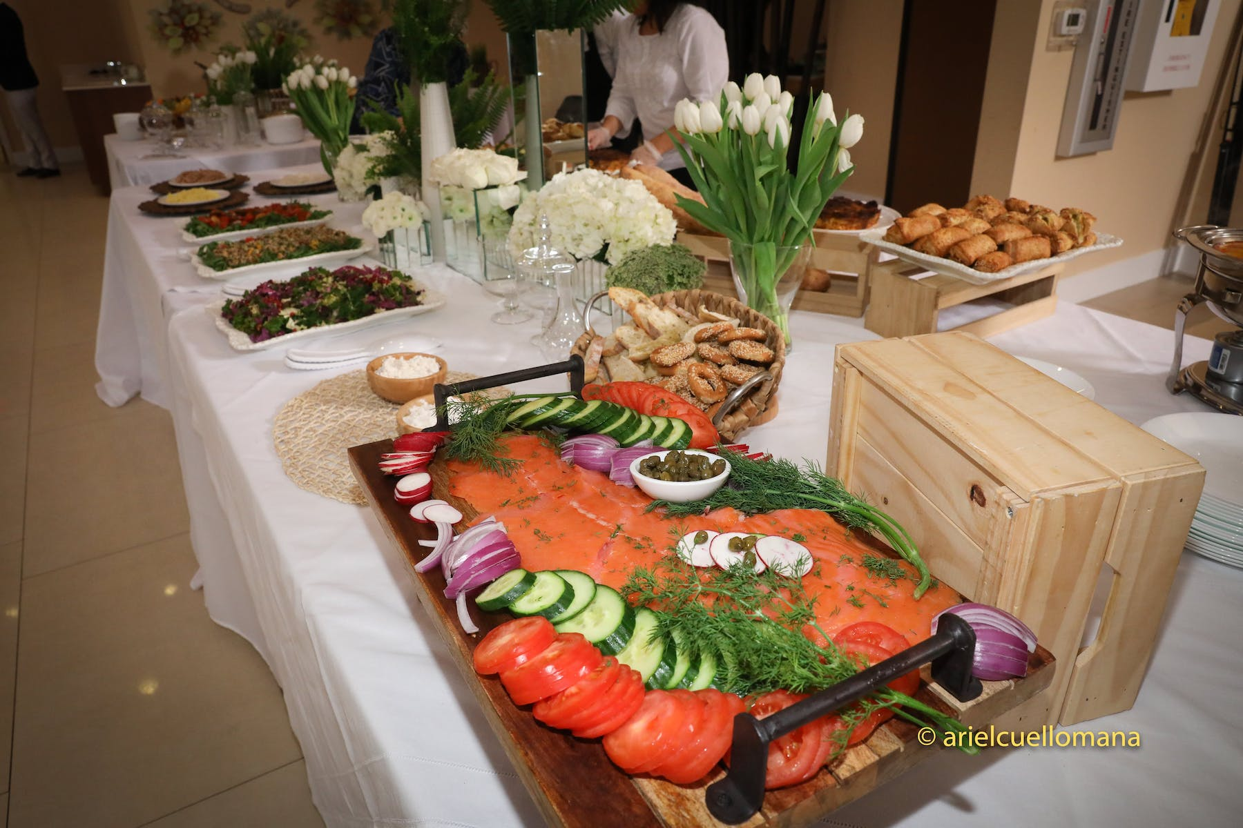 a table topped with different types of food