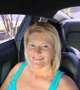 a woman in a car