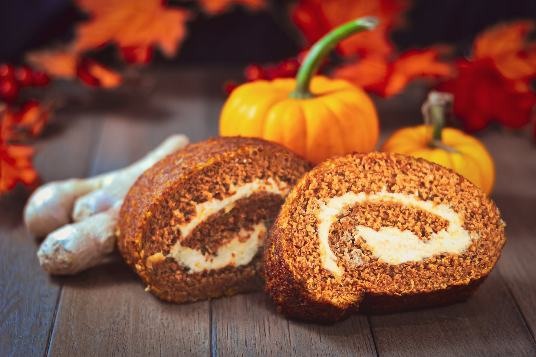 Pumpkin Spice Roulade  with candied ginger celebrates Autumn