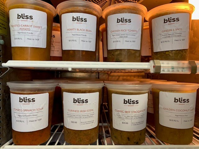 Soups made by bliss bakery
