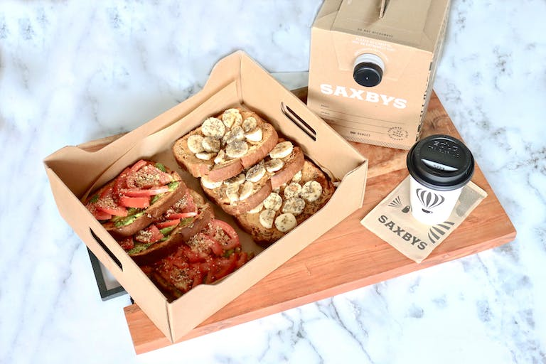 The Saxbys Toasts with the Most party pack and brew box