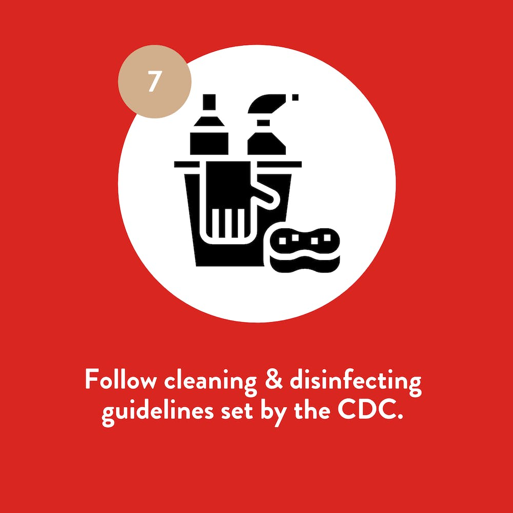 a graphic explaining that cafes will follow cleaning and disinfecting guidelines set by the CDC
