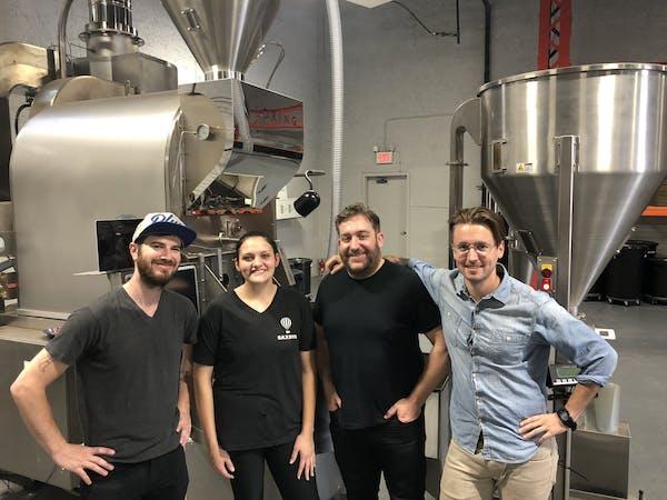 David Amos and the Saxbys coffee roasting team