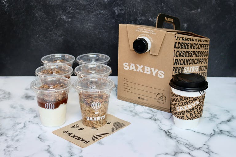 The Saxbys Rise and Shine party pack and brew box