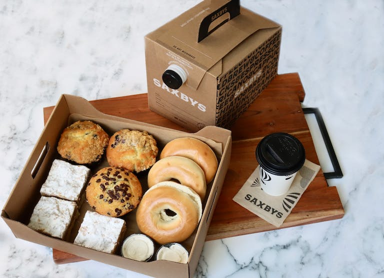 The Saxbys Breadwinner party pack with a brew box