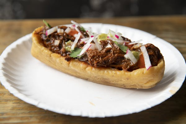 chalupa with red chile pork