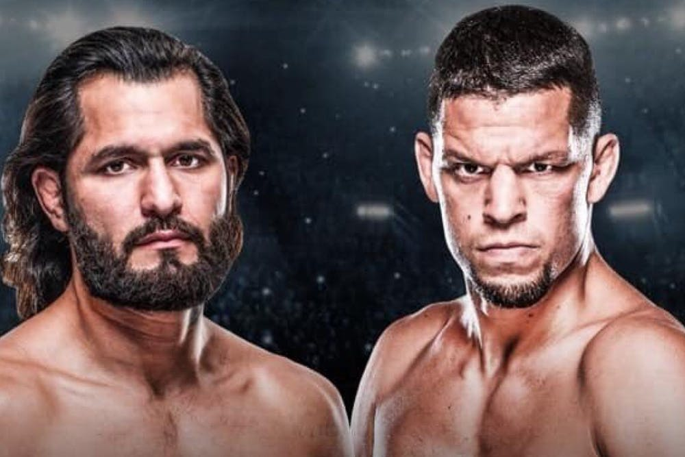 Jorge Masvidal, Nate Diaz are posing for a picture