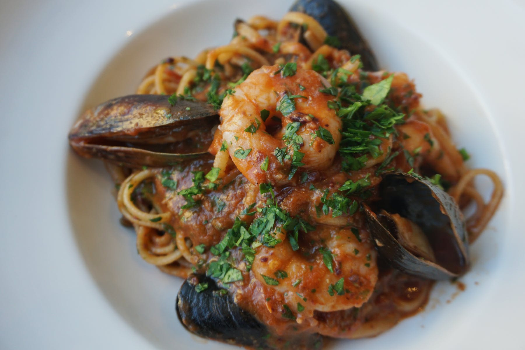 Pasta with mussels and shrimps.