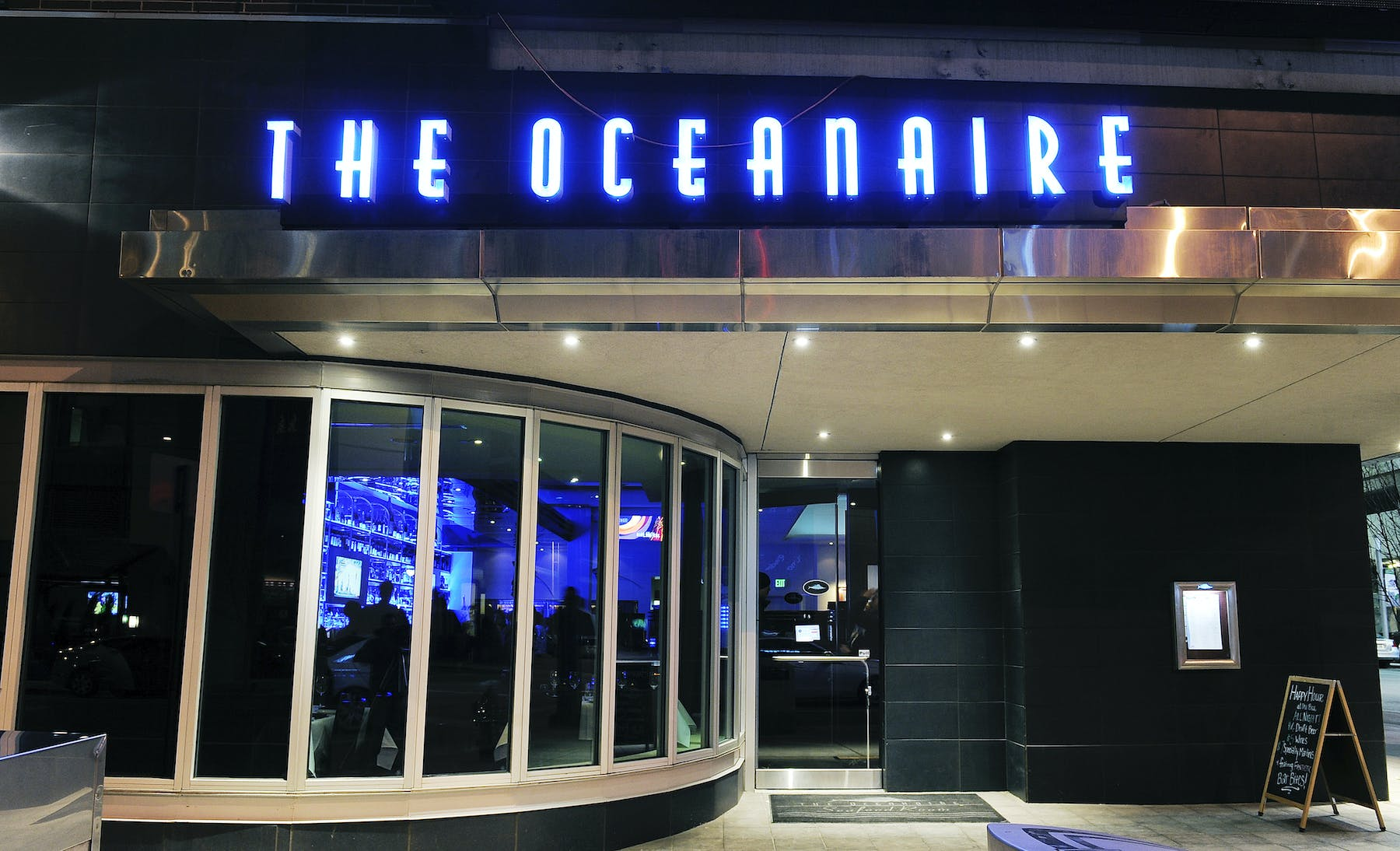 the restaurants front with the oceanaire sign
