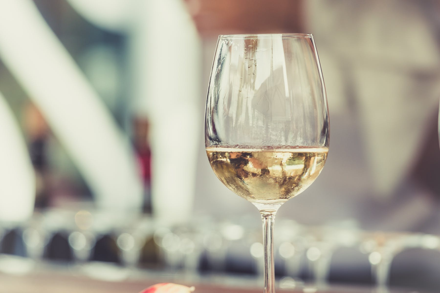 a closeup of a wine glass