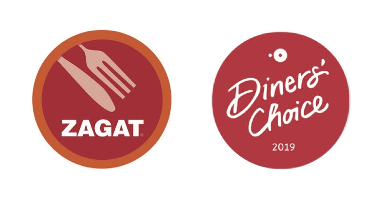 zagat logo and dinner's choice badge