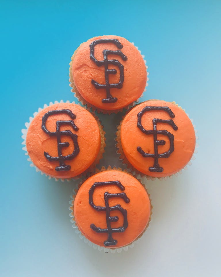Chocolate or Vanilla cupcakes topped with a San Francisco Giants buttercream logo