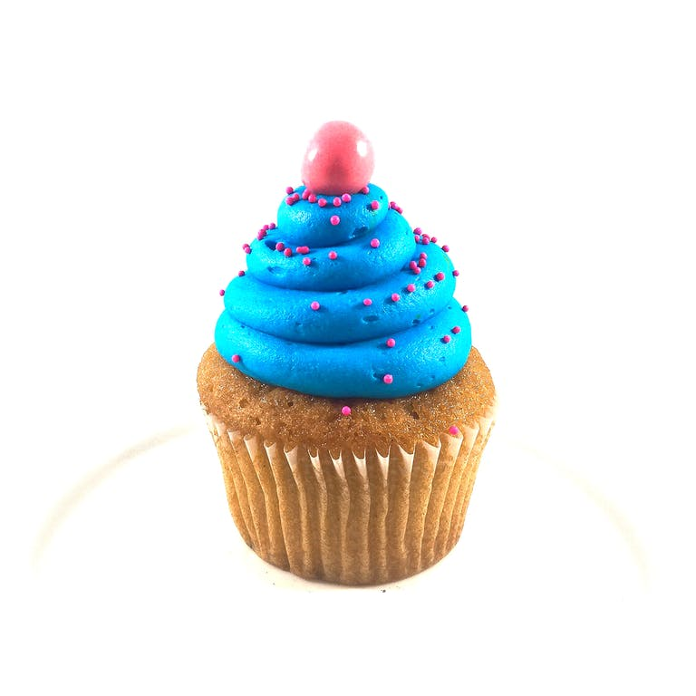 Vanilla cupcakes topped with bubblegum buttercream and a gumball