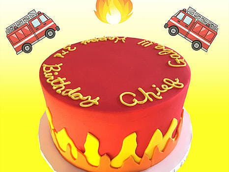 Chocolate or Vanilla cake layered with vanilla buttercream and covered in buttercream and fondant and fire design