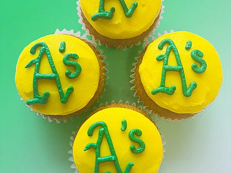 Chocolate or Vanilla cupcakes topped with an Oakland Athletics buttercream logo